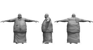 fat traditional dress man 3D model