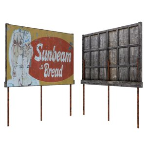3D old billboard board model