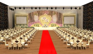 hotel wedding stage decoration 3D model