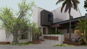 tropical open bar restaurant 3D model