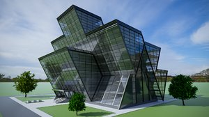 3D model office building structural architecture glass