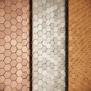 3D hexagon tiles gold copper
