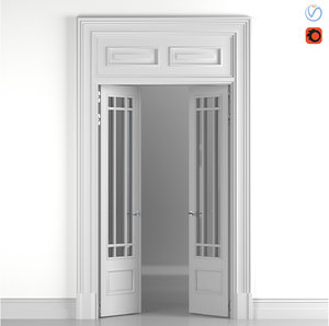 classical door glass 3D