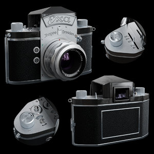 3D model vintage photo camera exa