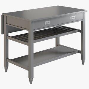 3D realistic grey kitchen island