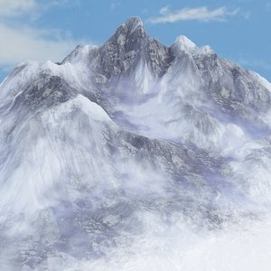 3D snowy slopes background environment
