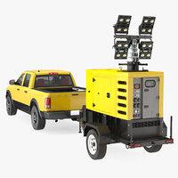 Pickup Truck Towing Mobile Generator