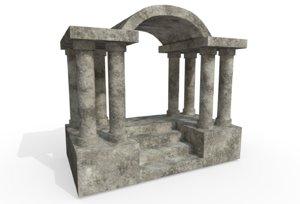 columned entry 3D model