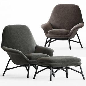 3D model minotti prince armchair ottoman