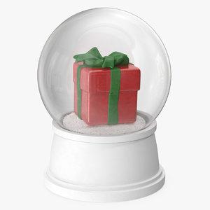 3D snow globe red gift model