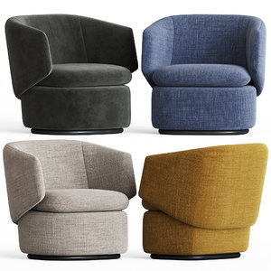 crescent swivel chair westelm 3D model