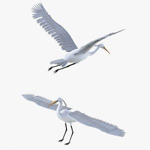 3D bird egret model