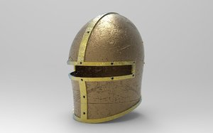 3D model knight great helm barbute