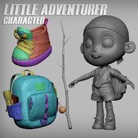 Little Cartoon Girl/Boy Adventurer Character