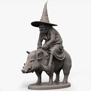 witch ride pig print 3D model