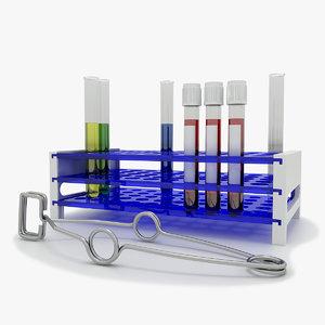 3D model stand test tube tweezers
