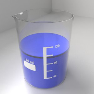 150ml glass beaker liquid 3D model