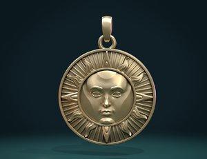 sun face pendant 3D model