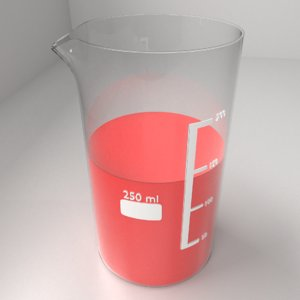 250ml glass beaker liquid 3D
