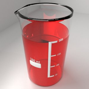 3D 250ml glass beaker liquid