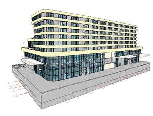 3D hotel building revit scene