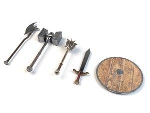 medieval fantasy weapon pack model