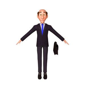 3D business man cartoon model