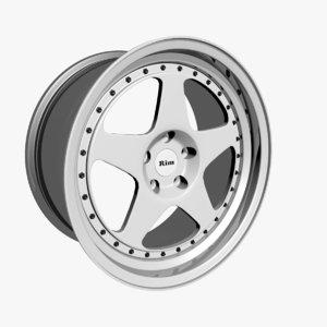 3D wheel rim vehicle
