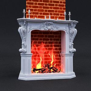 3D classic fireplace