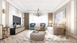 livingroom modern render 3D