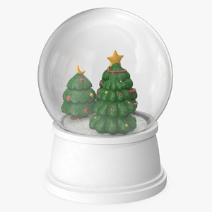 snow globe christmas trees 3D model