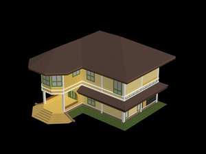 3D model house colonial style