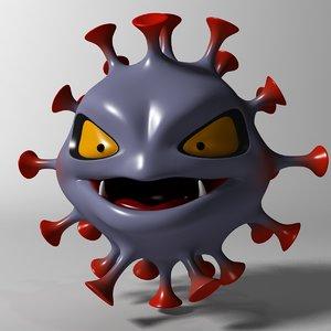 3D cartoon coronavirus model