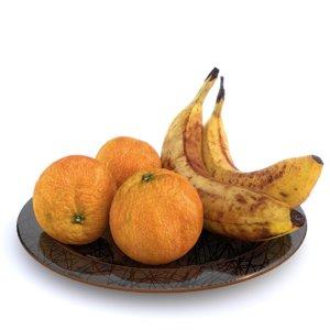 3D plate oranges bananas model