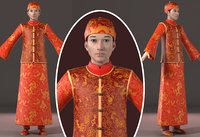 Asian man wedding dress Chinese style clothes