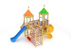 3D wooden playground model