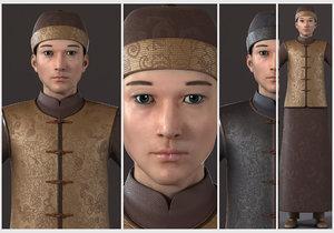 asian merchant man 3D model