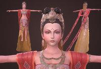 Asian woman Ancient flying fairies Dunhuang China India 3D model