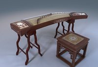 Chinese musical instruments string Oriental Zither GuZheng  3D model
