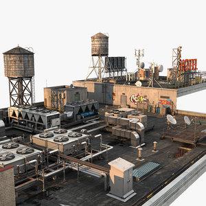 3D model scene rooftop