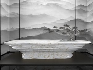 3D marble table bonsai tree model