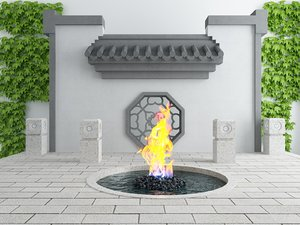 exterior set quenchless flame 3D model