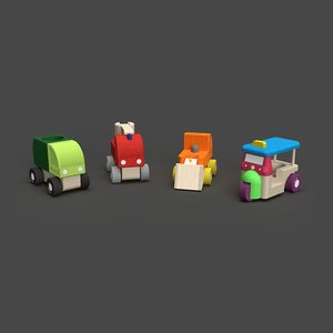 3D wooden vehicles toys