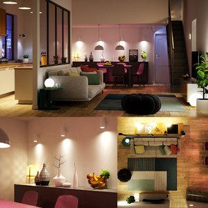 render scene modern interior model