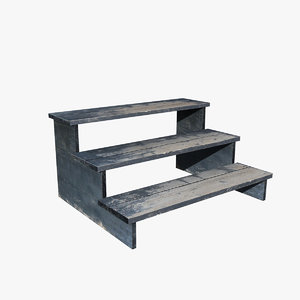 3d fbx small wood steps