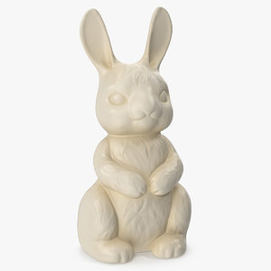 3D model white chocolate bunny
