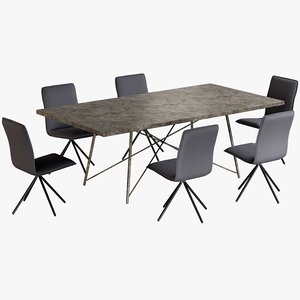 realistic dining table roman 3D