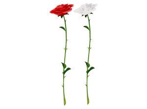 open bud single rose 3D model