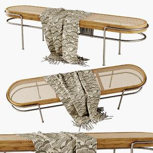 lounge bench rattan 3D model