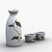 3D sake cup set